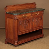 French Carved Oak & Marble Top Side Cabinet.