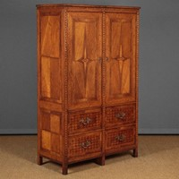Parquetry Inlaid Oak Cupboard with Drawers.