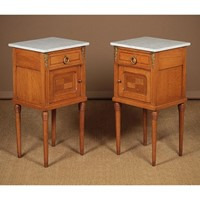 Pair Marble Top Bedside Cabinets.
