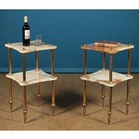Pair of Two Tier Marble & Brass Side Tables.