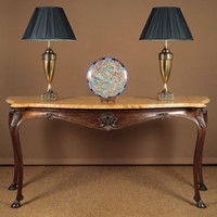 Long Walnut & Marble Top Console Table.