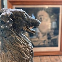 Near Lifesize Plaster Borzoi Dog, signed D Hughes