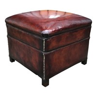 Studded Leather Footstool