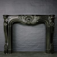 19thC Black Marble Chimneypiece in Louis XV Manor