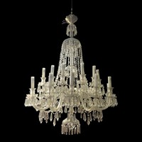 Early 20th Century Large  Crystal Glass Chandelier