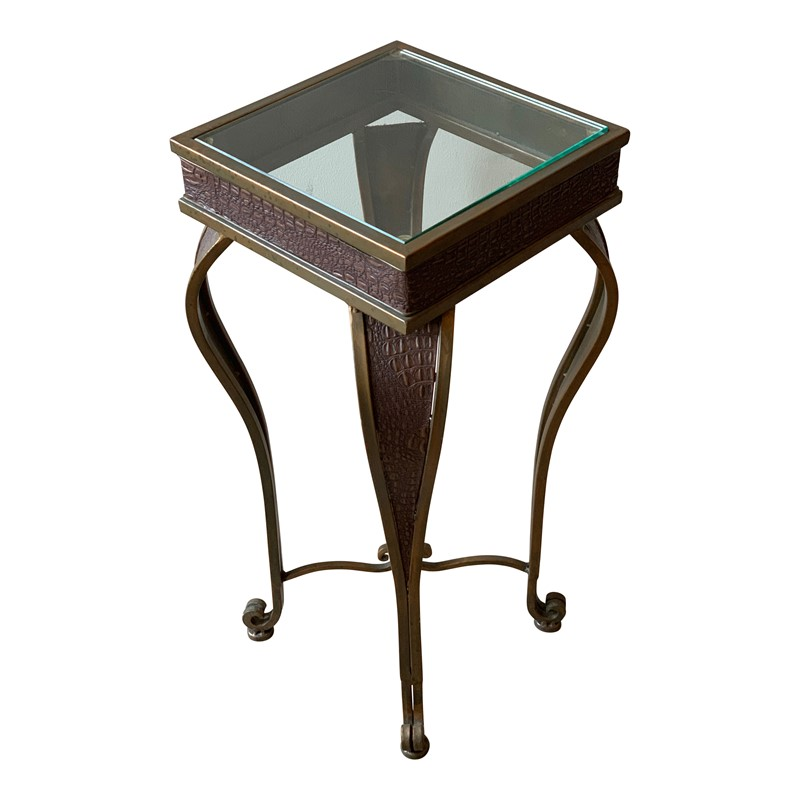 Brass and Faux Crocodile Side Table-cubbit-antiques-img-2848-main-636885017083031004.jpg