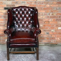 Late 20th Century Leather Wingback Armchair