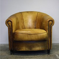 Tan Dutch Leather Tub Chair