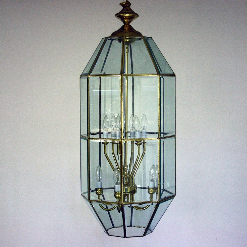 Large Late 20th Century Brass and Glass Lantern-cubbit-antiques-lighting-largelantern-front1-main-637334299930729621.jpg