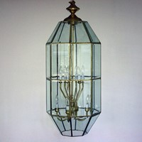 Large Late 20th Century Brass and Glass Lantern