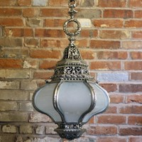 Early 20th Century Silvered lantern & Opaque Glass