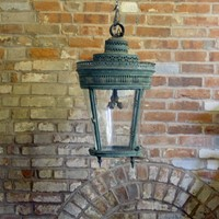 19th Century Verdigris Copper Lantern with Decorat