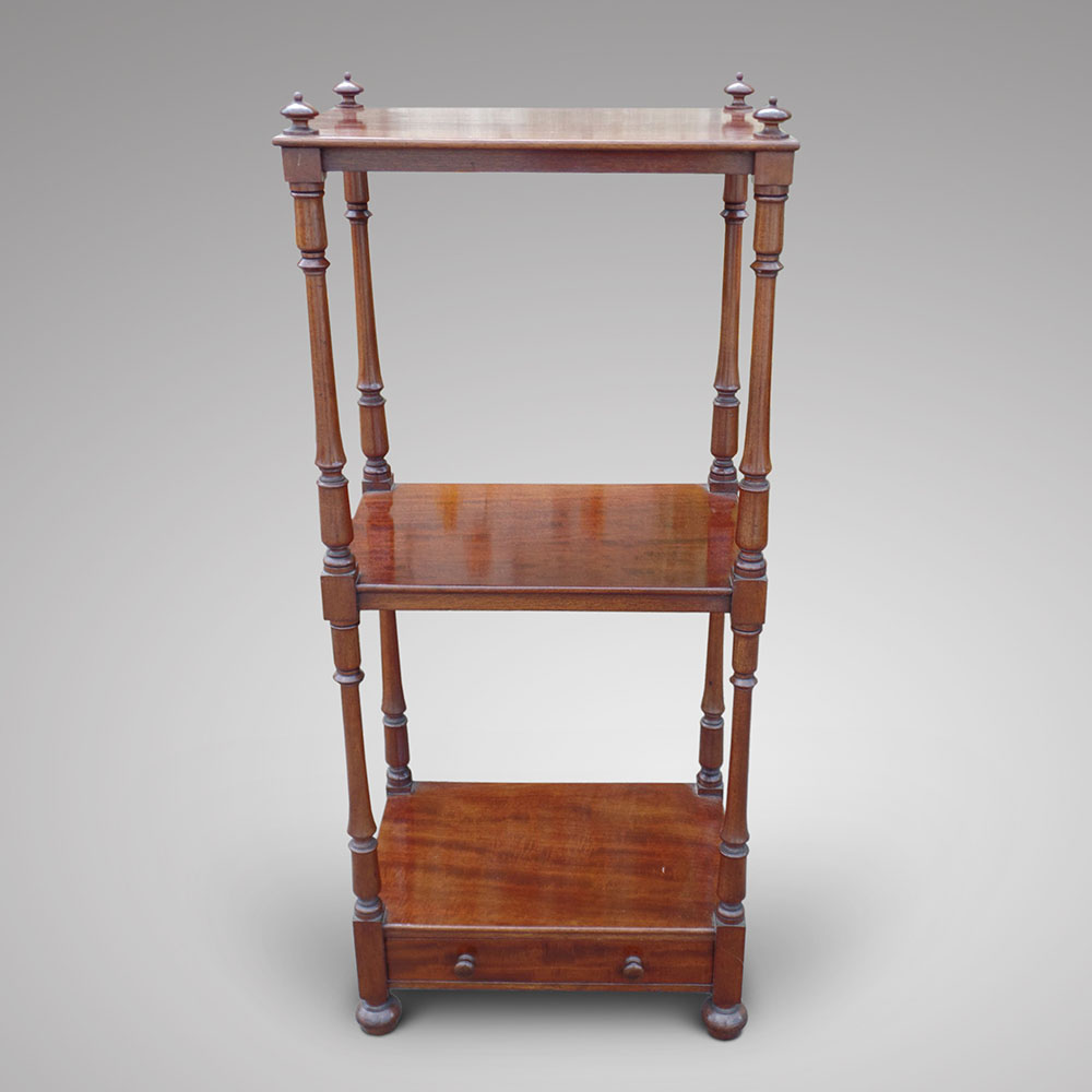 An attractive mahogany whatnot decorative collective for Vintage furniture dealers