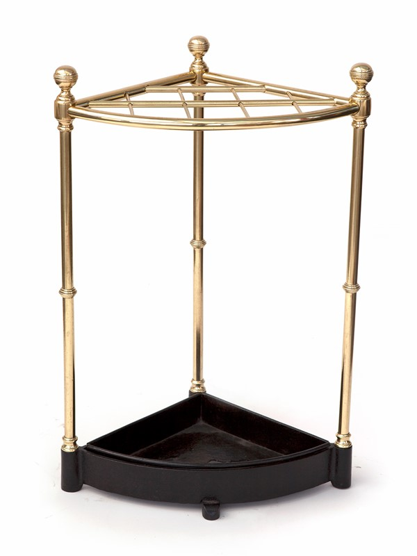 Heavy Gauge Brass Ten Section Corner Stick Stand-david-griffith-antiques-57210-main-637025051381508668.jpg