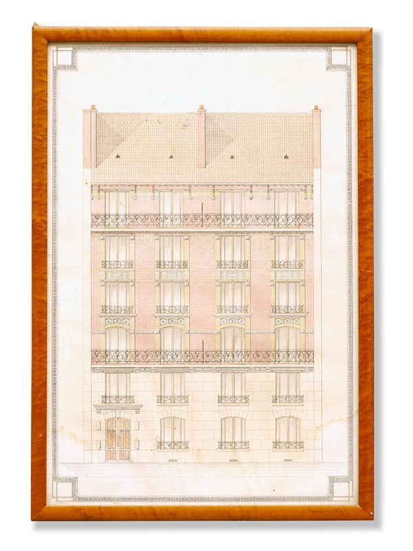 Architectural Drawing of French Apartment Block-david-griffith-antiques-67760-main-637363788454459782.jpg