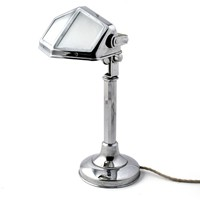 Antique French Chrome and Milk Glass Desk Lamp