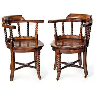 Matched Pair of Elm Desk Chairs