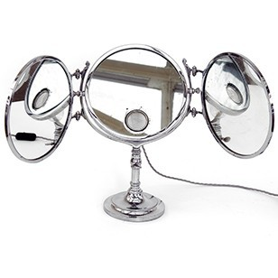 Rare Nickel Plated Triptic Mirror Brot