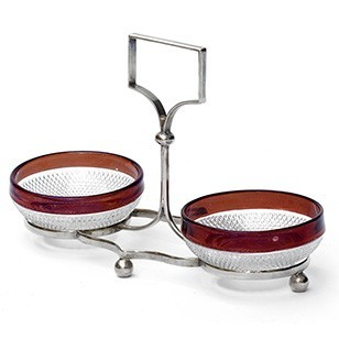 Silver Plate Stand + Cranberry Rimmed Glass Dishes