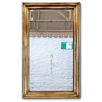 French Brass Wood Backed Bistro Mirror