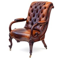 Mahogany Framed Deep Buttoned Leather Armchair
