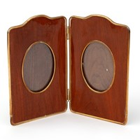 Brass Rimmed Mahogany Folding Picture Frame