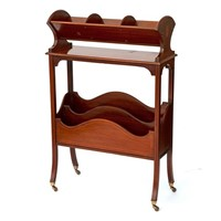 Boxwood Inlaid Mahogany Book Trough or Canterbury