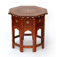 Antique Hoshiapur Table Inlaid with Bone and Ebony