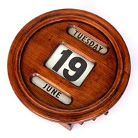 Wall Mounted Polished Mahogany Perpetual Calendar