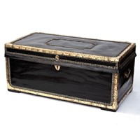 Leather Bound and Brass Mounted Camphorwood Trunk