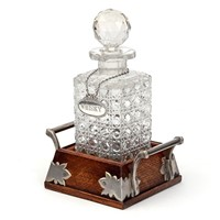 Cut Glass Decanter on Silver Plate & Oak Stand