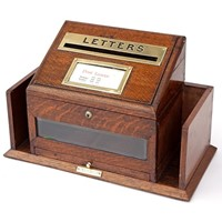Brass Mounted Polished Oak Desktop Hotel Letterbox