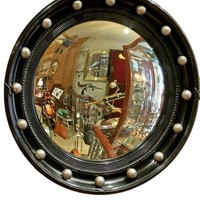 Ebonised Convex Mirror with Silver Balls c.1920