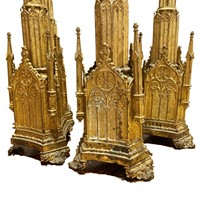 Set of 4 Gothic Picket Candlesticks