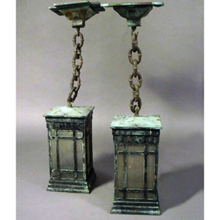 A Pair of Late 19th Century Bronze Outdoor Lantern