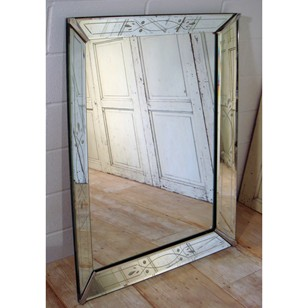 1960's Etched Glass Cushion Mirror