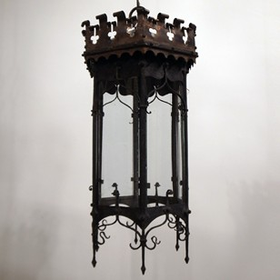 C19th wrought iron and copper Gothic lantern