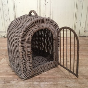 Small late 19thC French dog basket