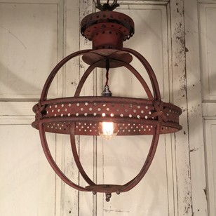 1940s English globe lantern in original paint