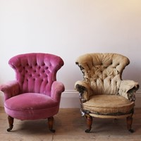 Pair of Button Back Armchairs