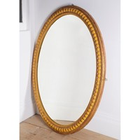 Large English oval Gilt and Gesso mirror