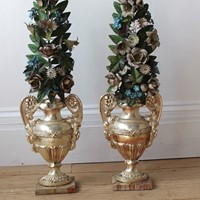 Pair of Silver Plated Faux Urns