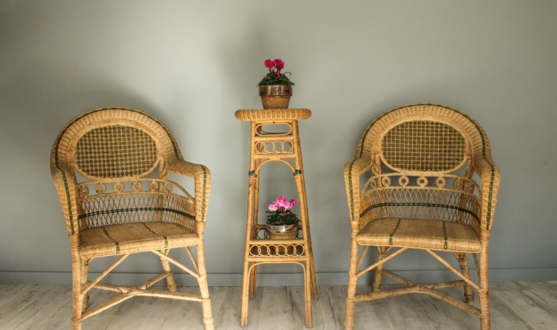1950's Pair of Wicker Chairs and  Plant Stand-decorative-garden-antiques-img-4659-main-637401751299946821.jpg