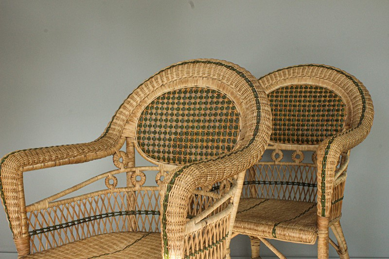 1950's Pair of Wicker Chairs and  Plant Stand-decorative-garden-antiques-img-4665-main-637401751562287112.jpg