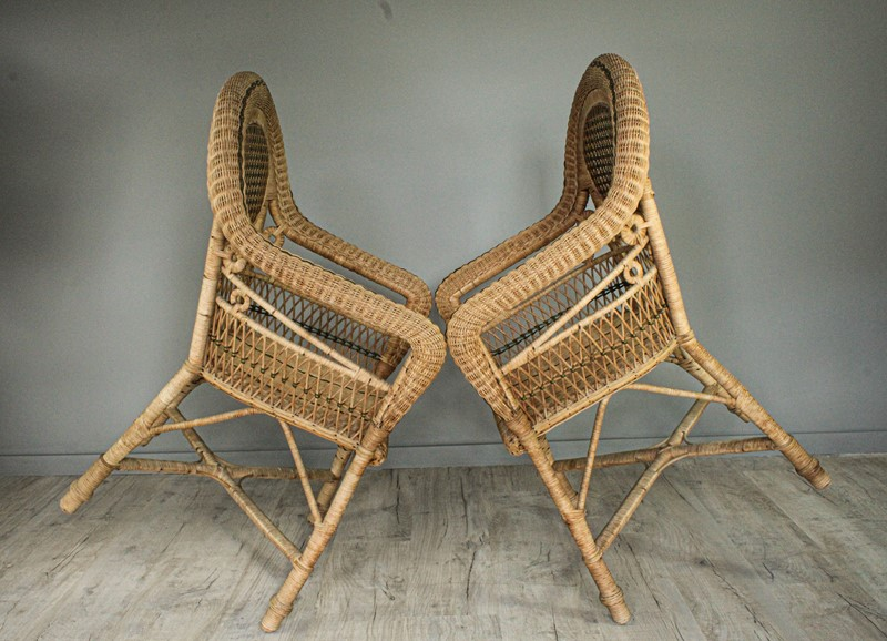1950's Pair of Wicker Chairs and  Plant Stand-decorative-garden-antiques-img-4666-main-637401751601505544.jpg