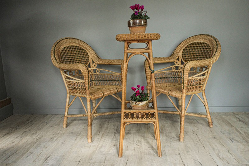 1950's Pair of Wicker Chairs and  Plant Stand-decorative-garden-antiques-img-4668-main-637401751636036623.jpg