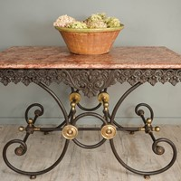 Antique French Patisserie Table with Marble Top