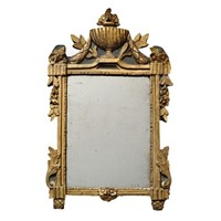 French Louis XVI Painted & Carved Giltwood Mirror