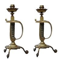 Pair of English Cavalry Sword Hilt Candlesticks