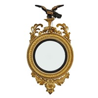 English Regency Carved Giltwood Convex Mirror